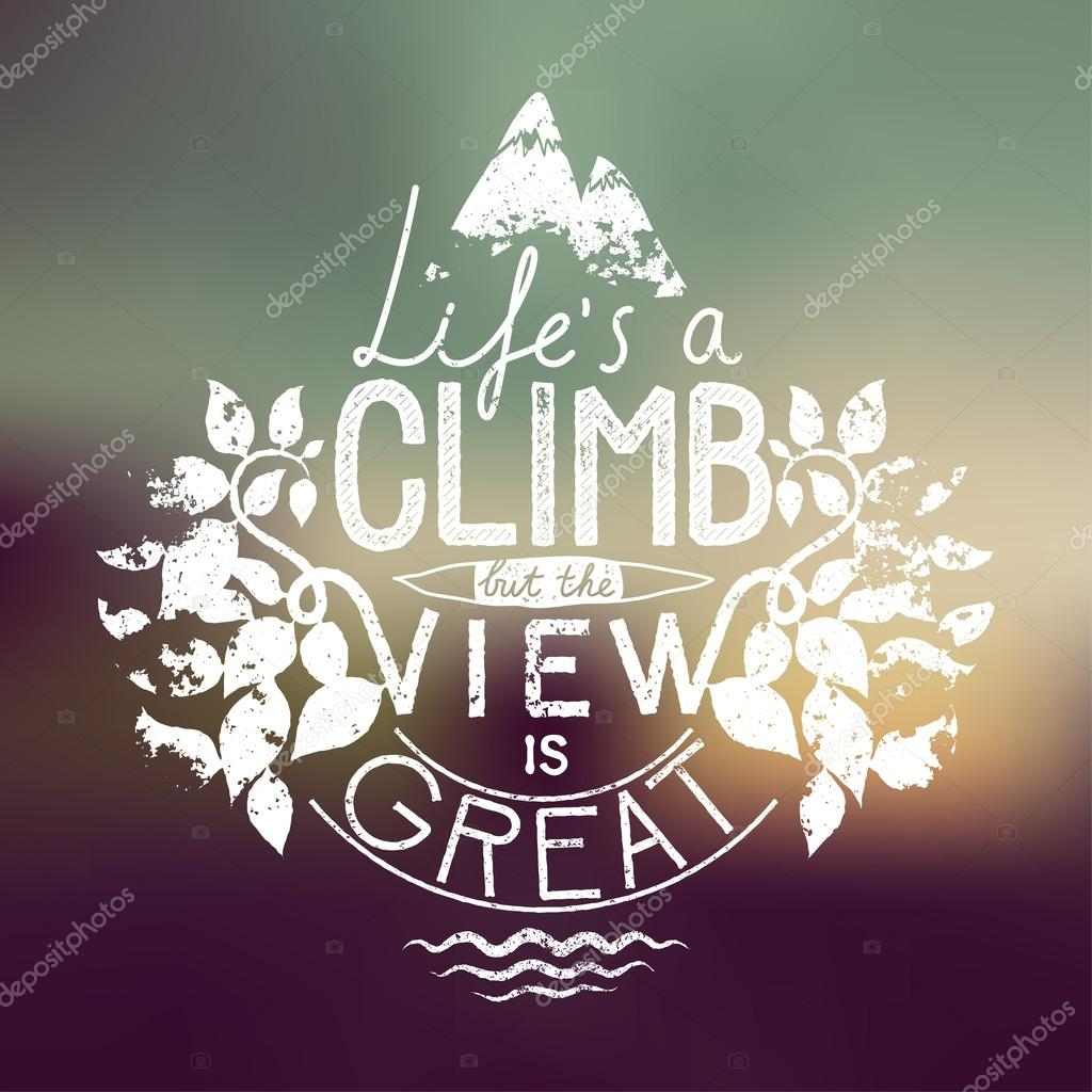 hiking calligraphy concept