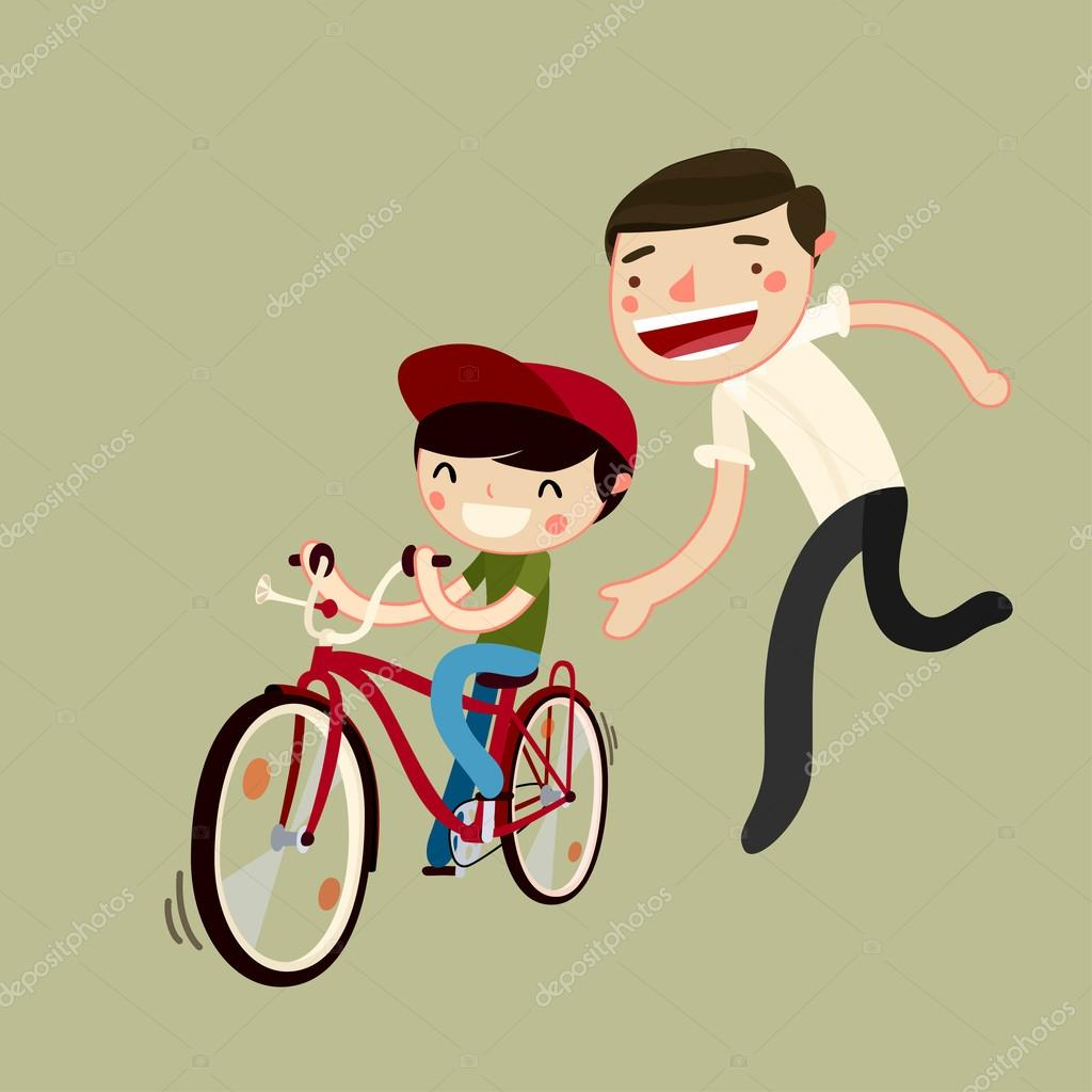 padre ense u00f1a hijo a andar en bicicleta vector de stock fathers clip art free feather clip art black and white