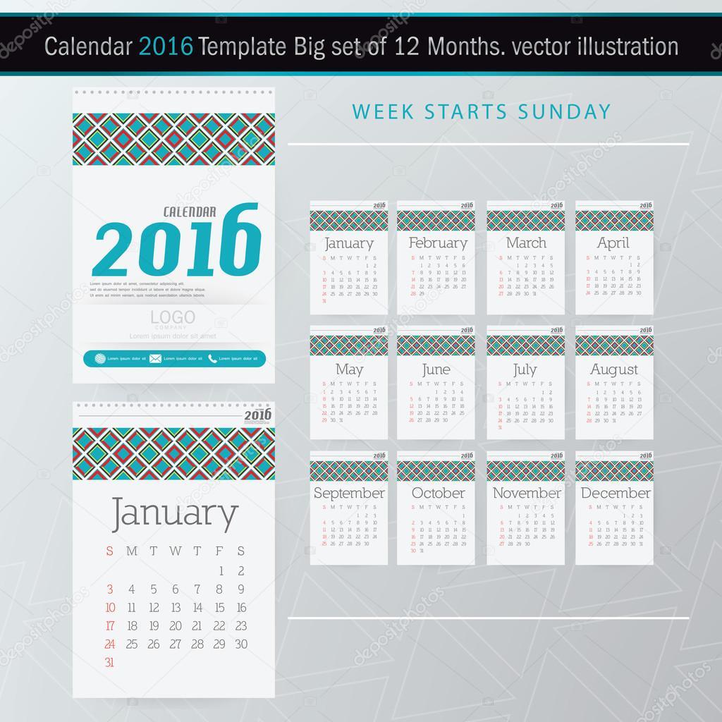 Plantilla de diseño de escritorio calendario 2016 Vector. Juego ...