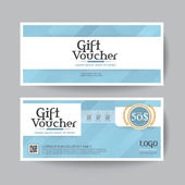 Gift voucher design vector template layout for business card gift set.blue