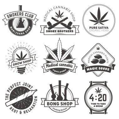 Marijuana smoking badges. Medical cannabis labels