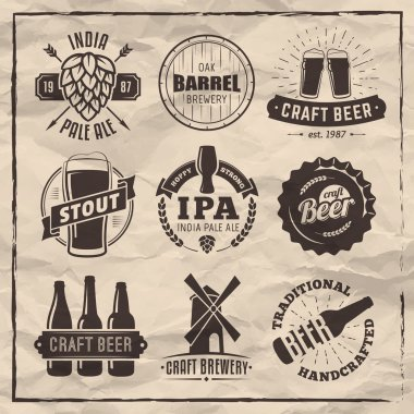 Vector craft beer logos and badges