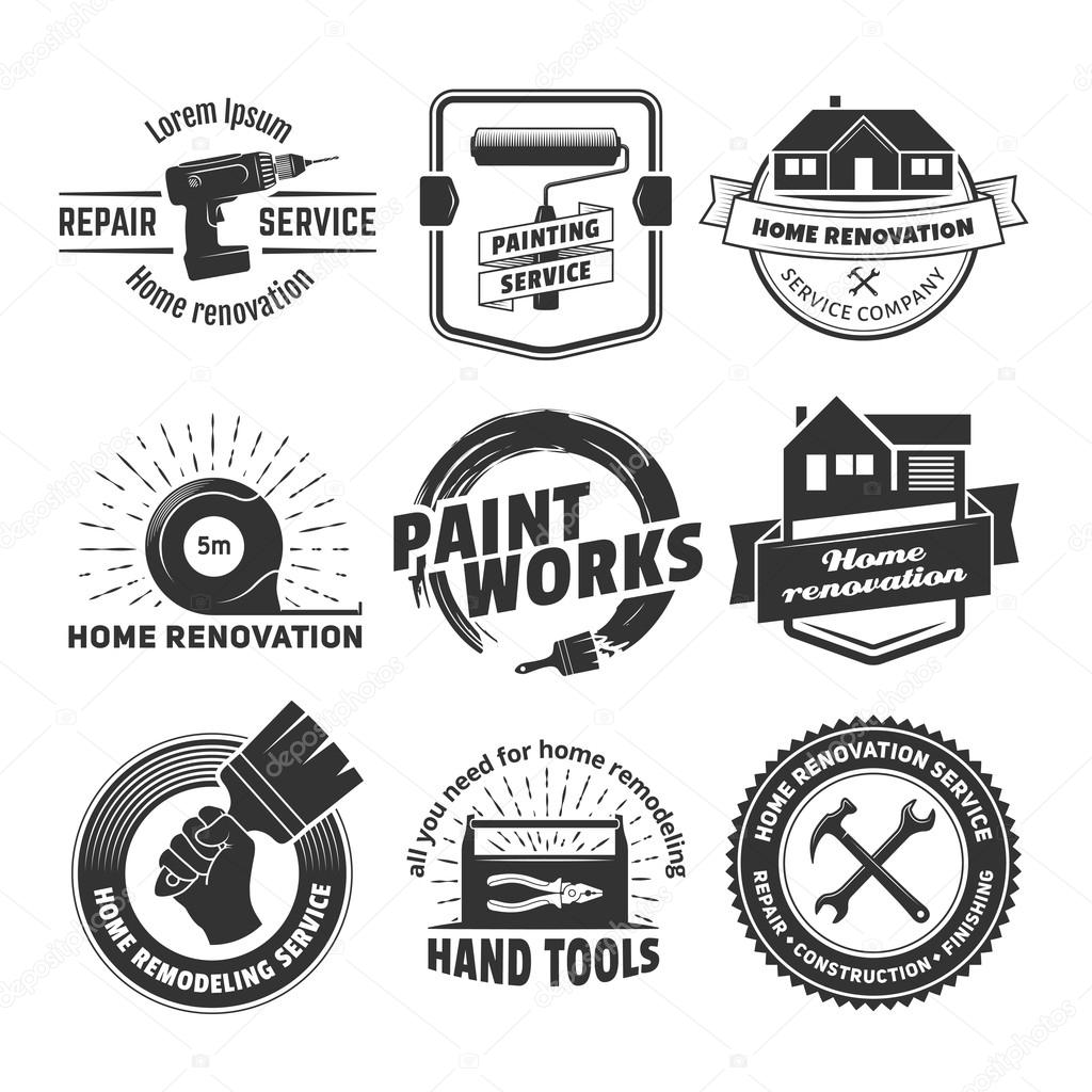 house remodeling logos stock vector