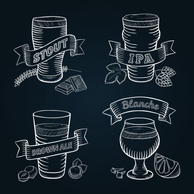 Hand drawn craft beer. Stout, IPA, brown ale and Belgian blanche.