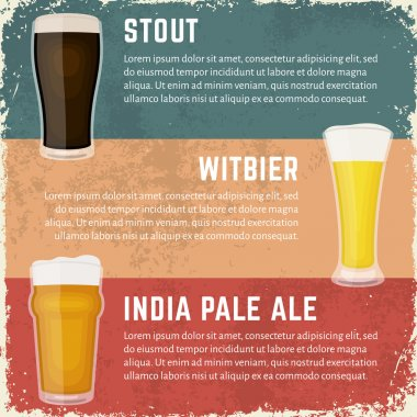 Craft beer styles banner. Glasses of various craft beer.