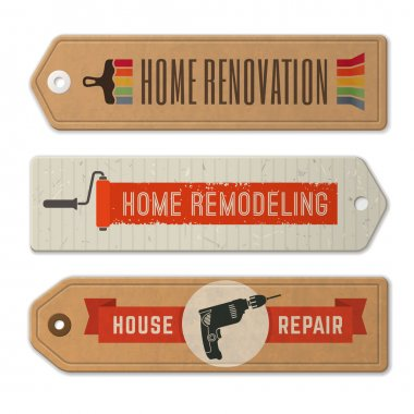 Vector home remodeling logos and labels
