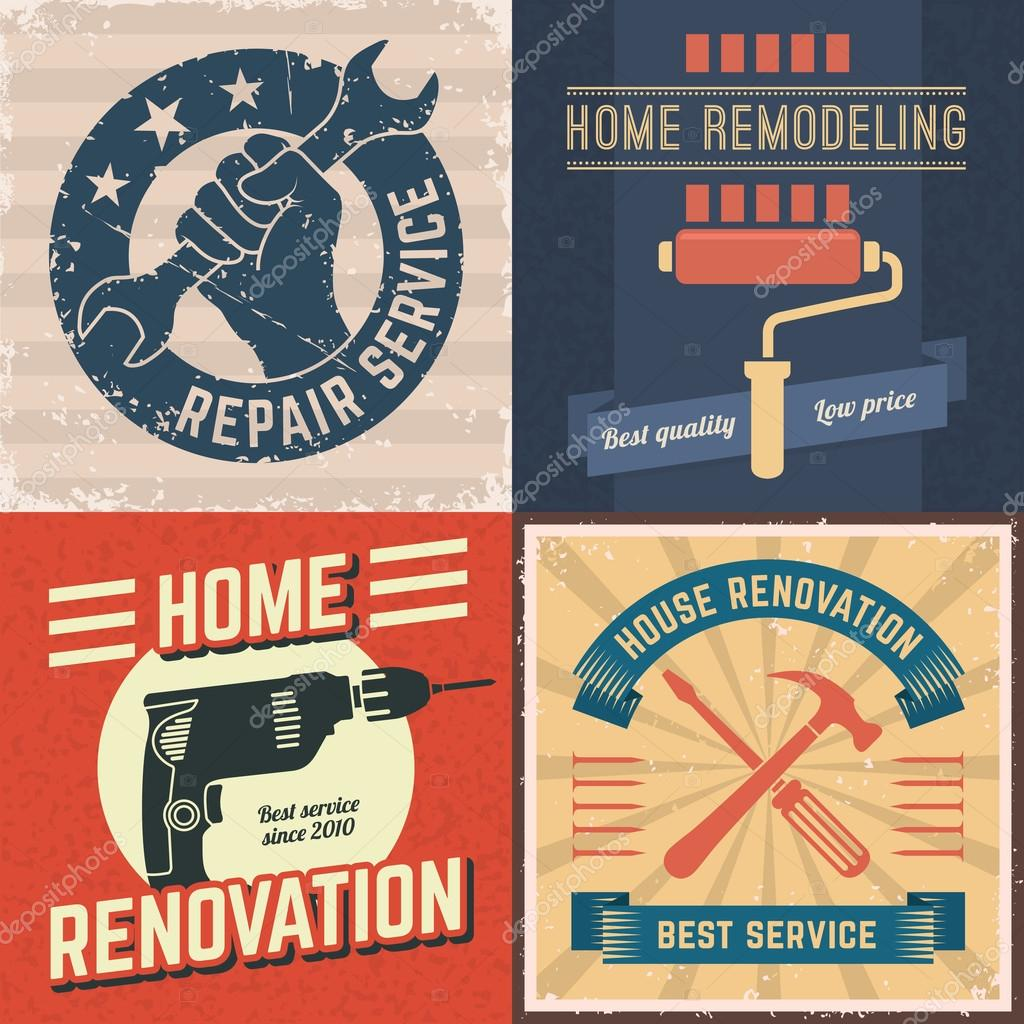 home remodeling logos stock vector