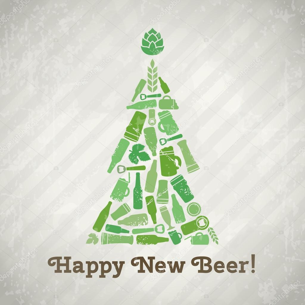 happy new beer tagline christmas tree made of craft beer bottles beer mugs glasses beer ingredients and accessories vintage new year background in