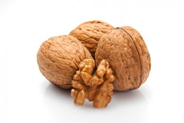 Walnut and kernel isolated on white