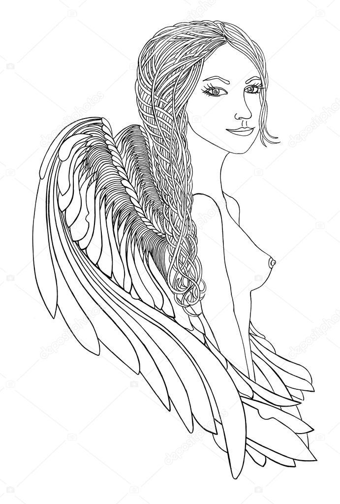 Immagini Treccia Disegnata Ragazza Con Bellissime Ali Penna