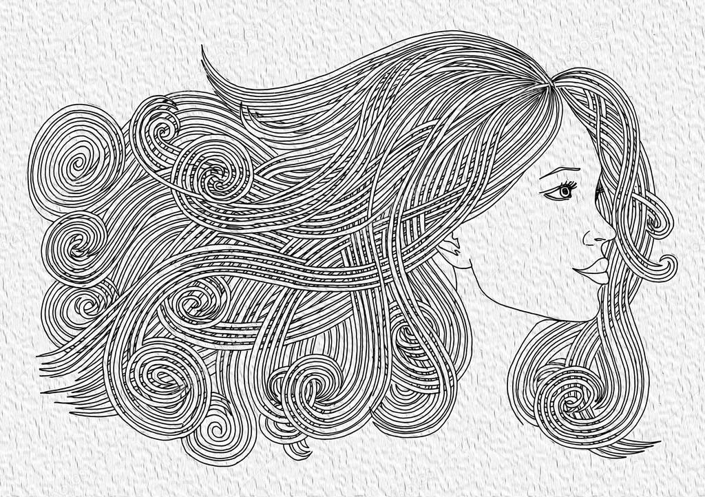 Profile Of Beautiful Woman With Waving Hair Graphic Style Stock
