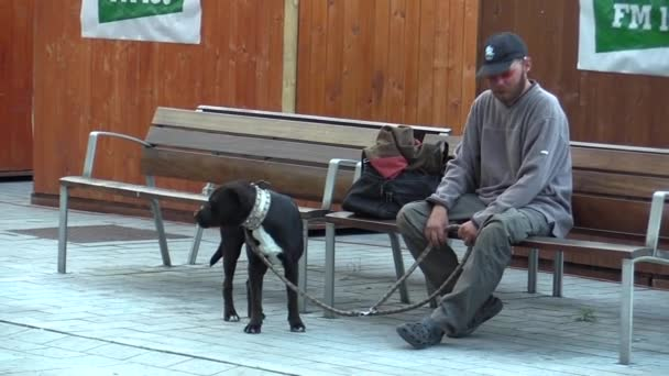 BRNO, CZECH REPUBLIC - SEPTEMBER 11, 2014: Authentic emotion homeless man drunk sitting with dog
