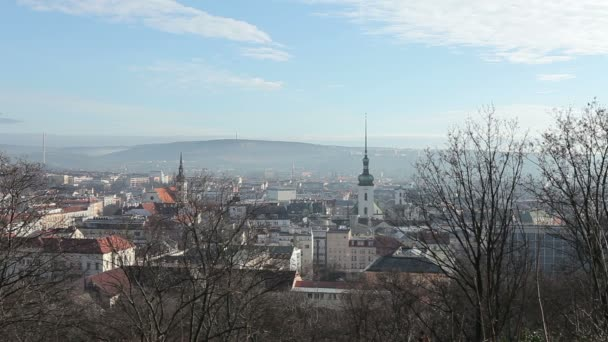 View of the city of Brno, the white tower of St. James Church