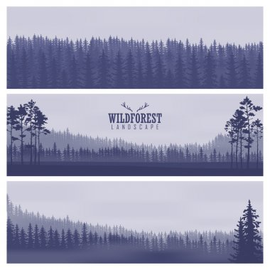 Horizontal abstract banners of hills of coniferous wood in dark blue tone