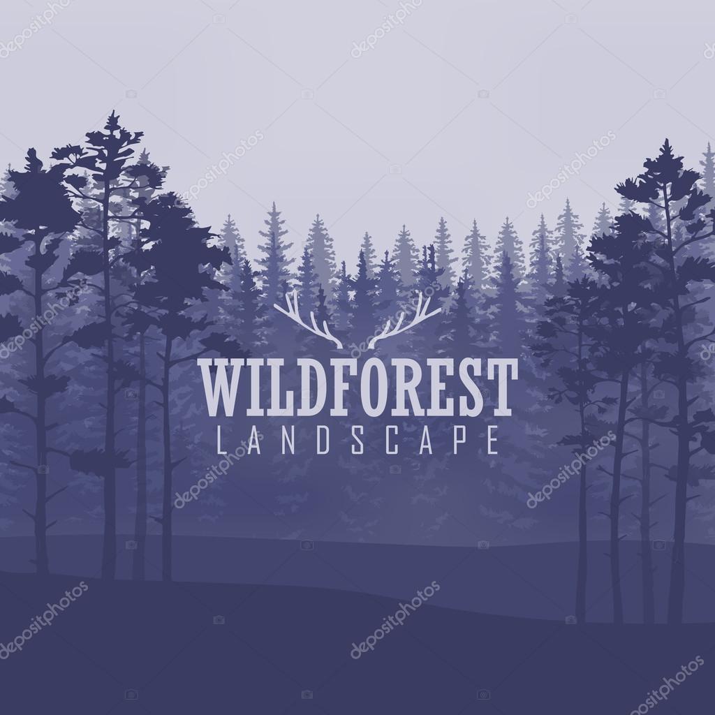 Pino, paisaje natural, madera panorama natural. Plantilla de diseño ...