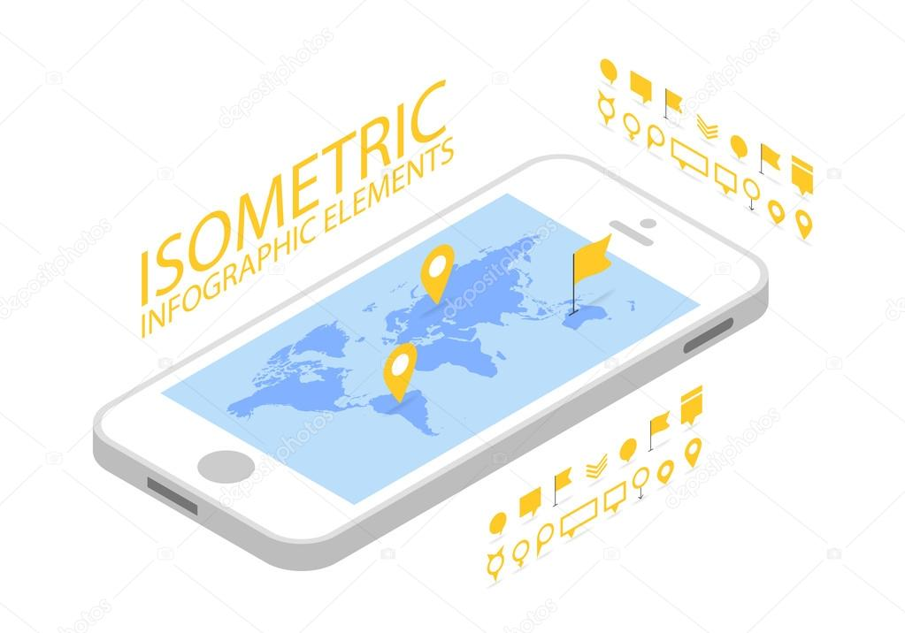Isometric mobile gps navigation concept smartphone with world map isometric mobile gps navigation concept smartphone with world map application and marker pin pointer gumiabroncs Images