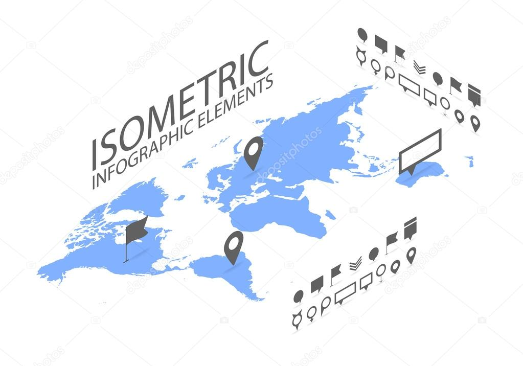 Isometric gps navigation concept world map application and marker isometric gps navigation concept world map application and marker pin pointer stock vector gumiabroncs Gallery