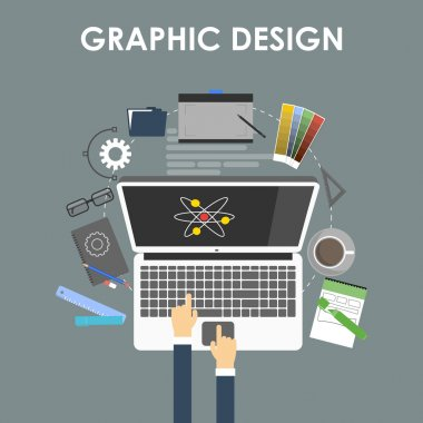 Concept for graphic design, designer tools and software