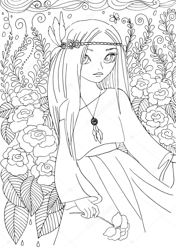 Coloring Book For Adult Young Girl In Boho Style Stock