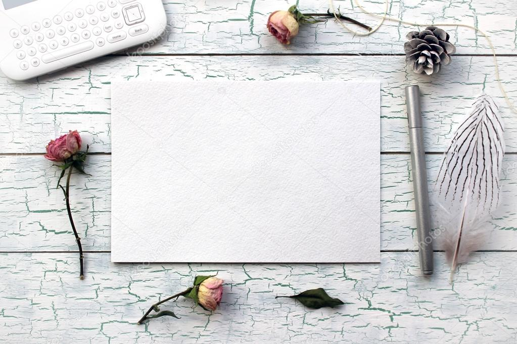 Shabby chic, Boho Mockup for presentations with dry roses.