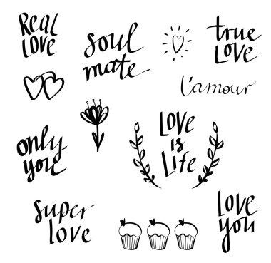 Set of hand written love doodle, lettering.