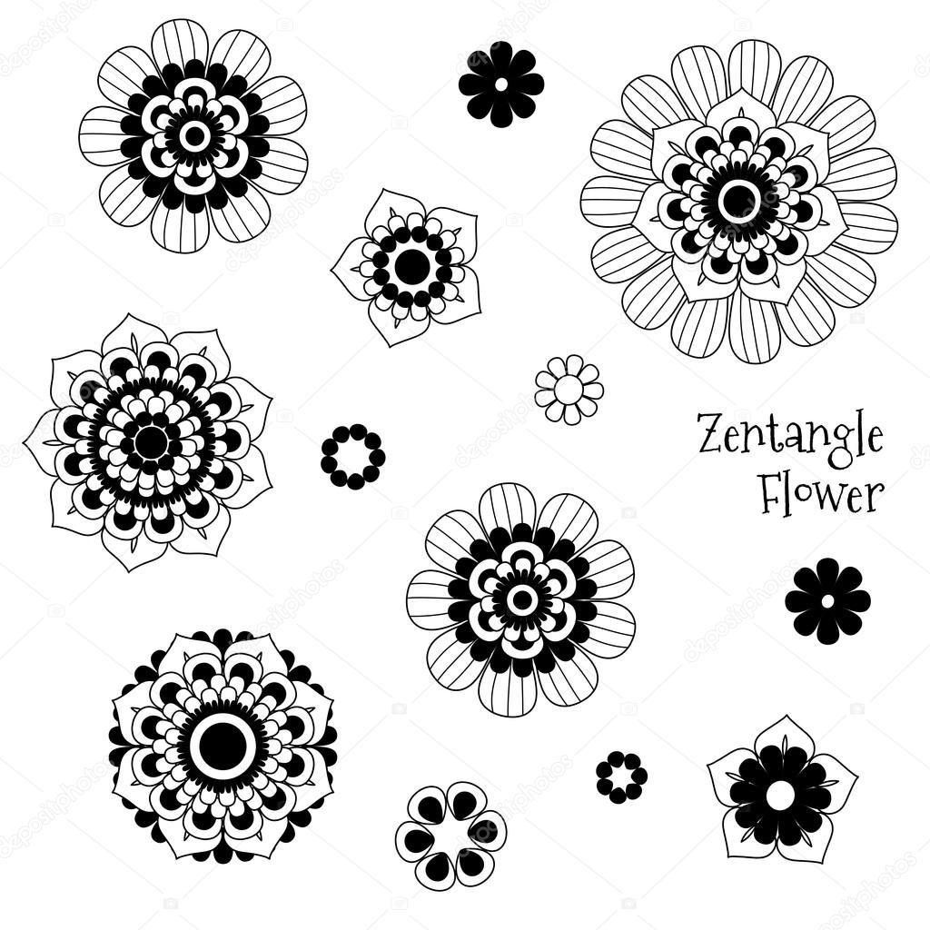 Imagenes Zentangle Flores Vector Hermosa Zentangle Doodle Flores