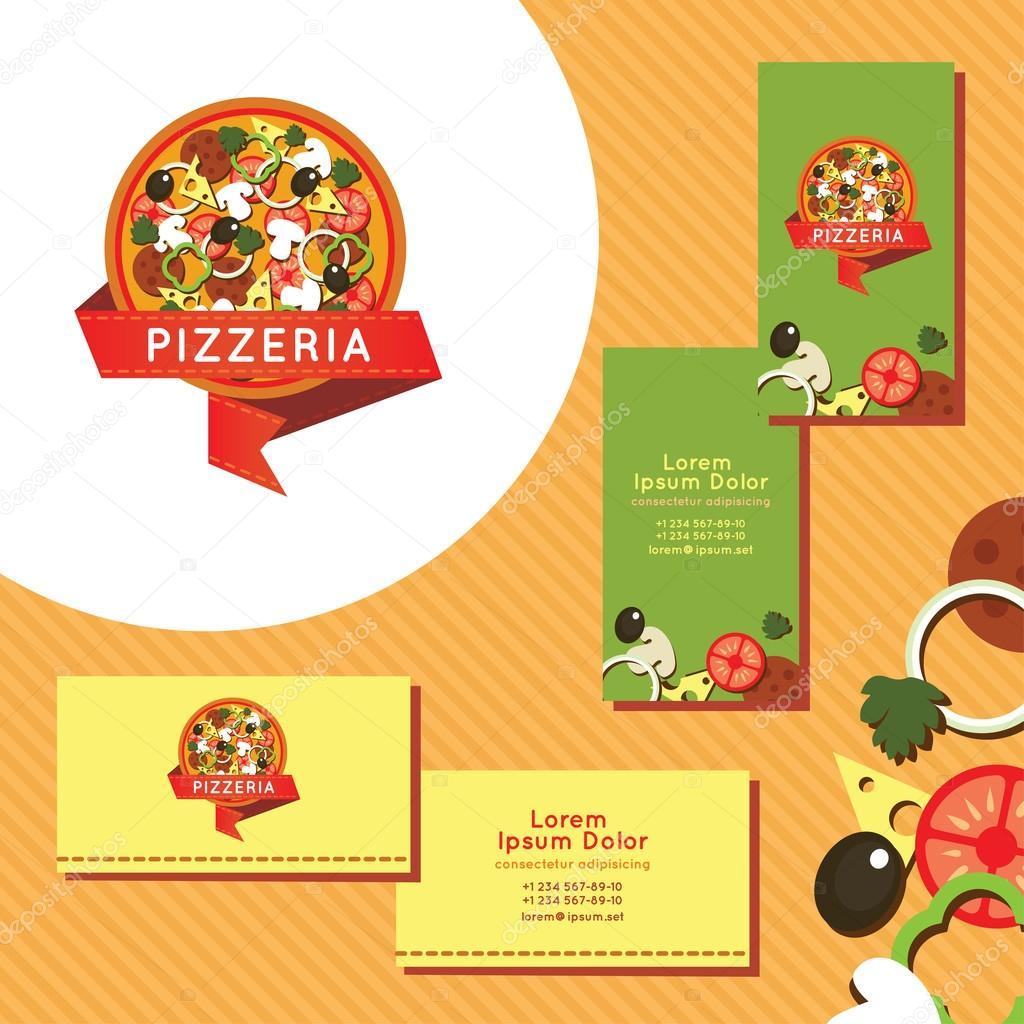 Jeu De Cartes Visite Pour Pizzeria Logo La Vecteur Par Neshcheret