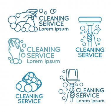 Logos for cleaning service. Set.