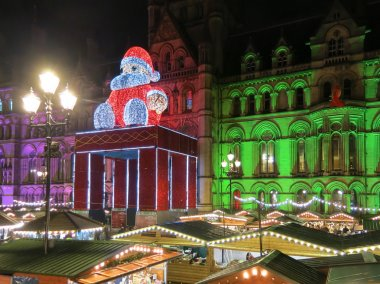 Manchester Christmas market by night, England