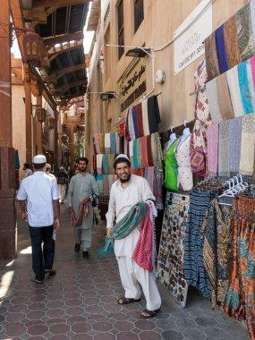 Sellers in textile souk in Bur Dubai
