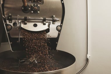 Coffee beans fall from a large roaster machine