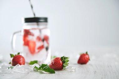 Close up strawberries healthy lemonade