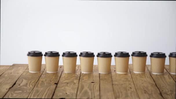 Many cardboard take away paper cups
