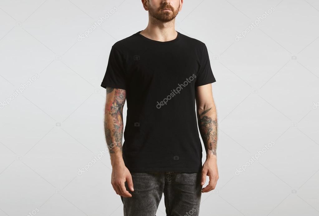 man poses in black blank t-shirt