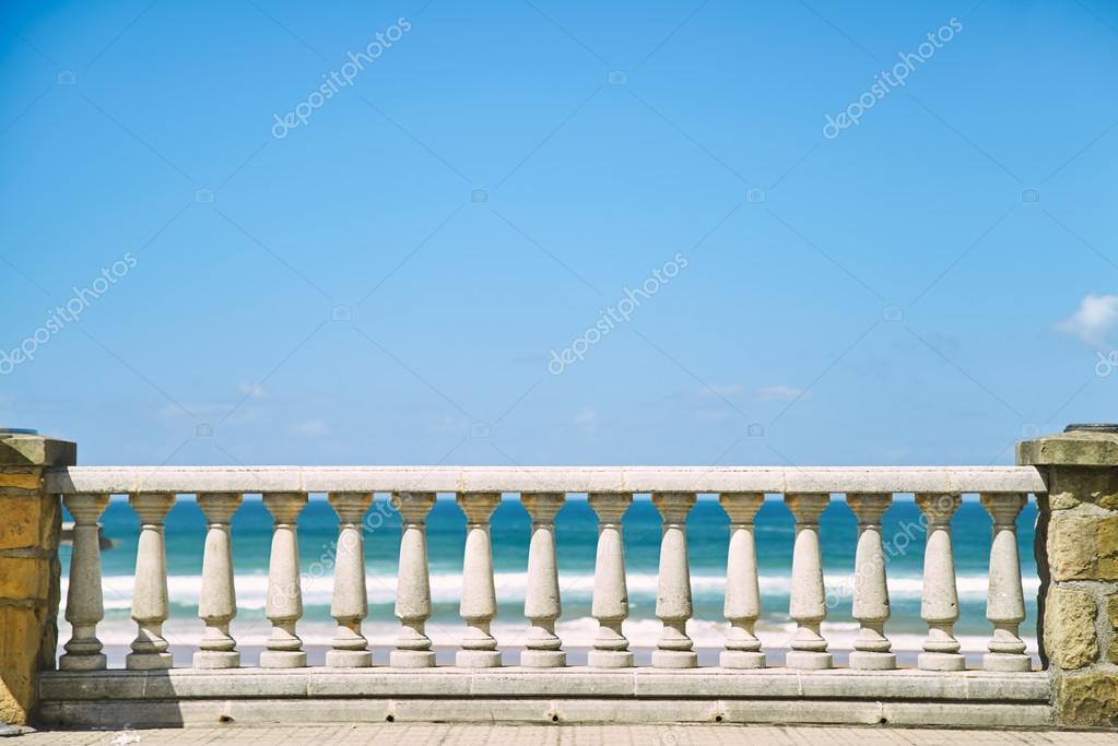 Concrete pillar fence and blue sky