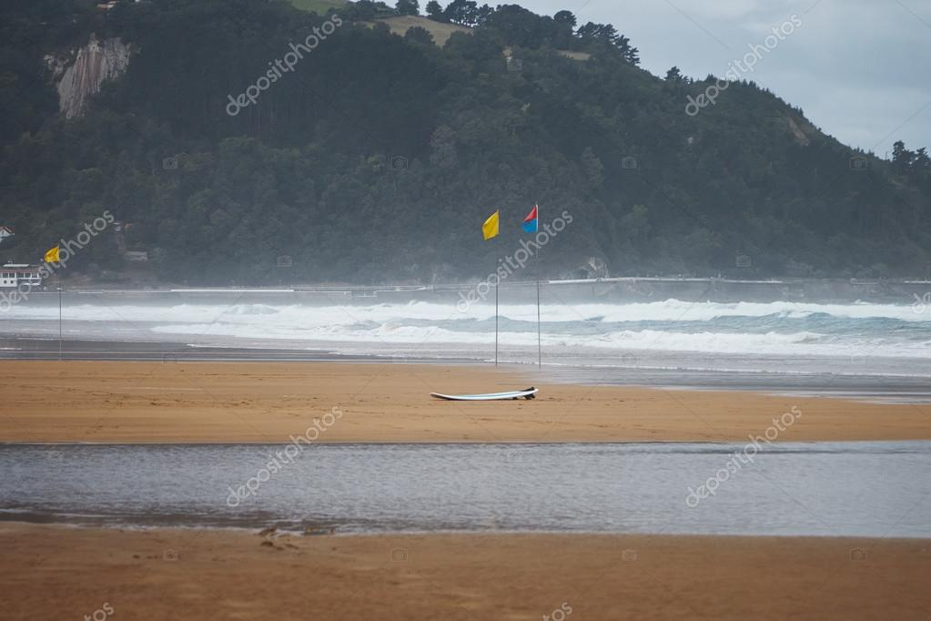 Flags and a surfboard on beach
