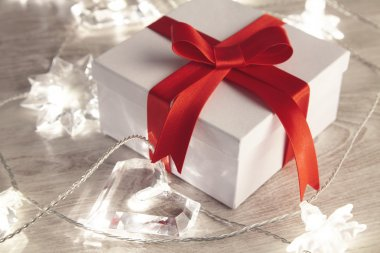 Romantic gift set box surrounded with lights