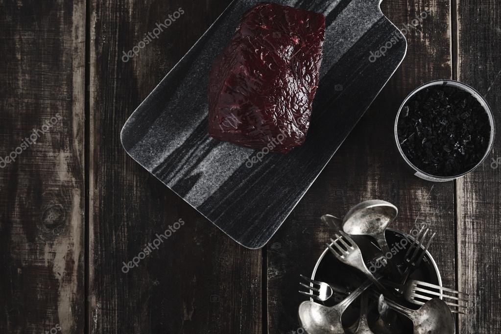 Walvis steak marble bureau zout keuken waren op tafel