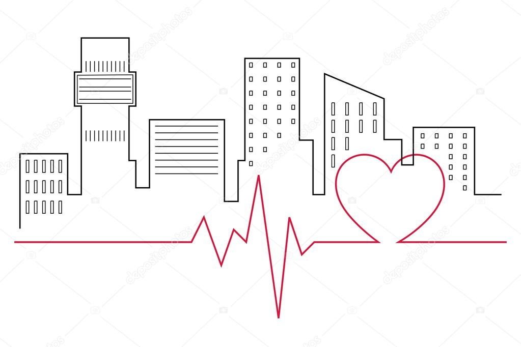 Heartbeat Line In Front Of The City Skyline Line Drawing Stock