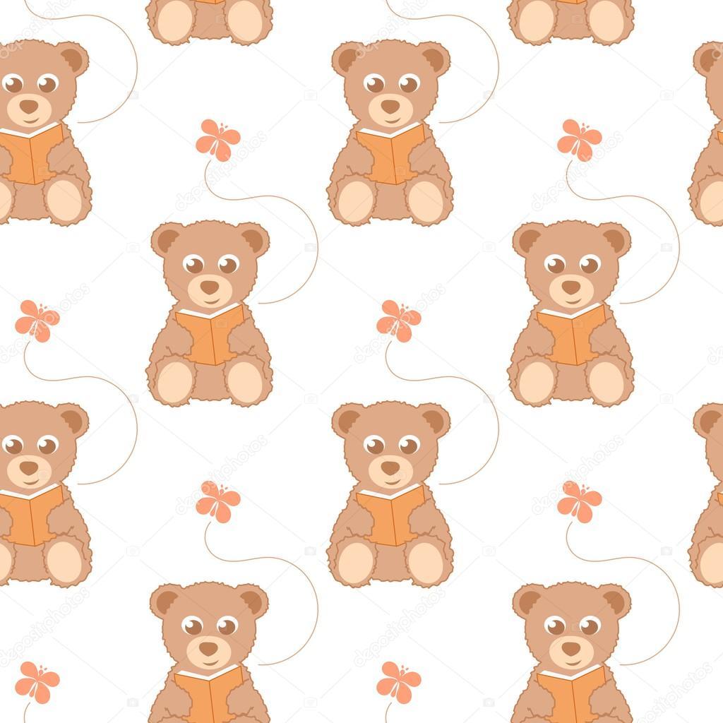 cartoon teddy bear seamless background stock vector sparrows