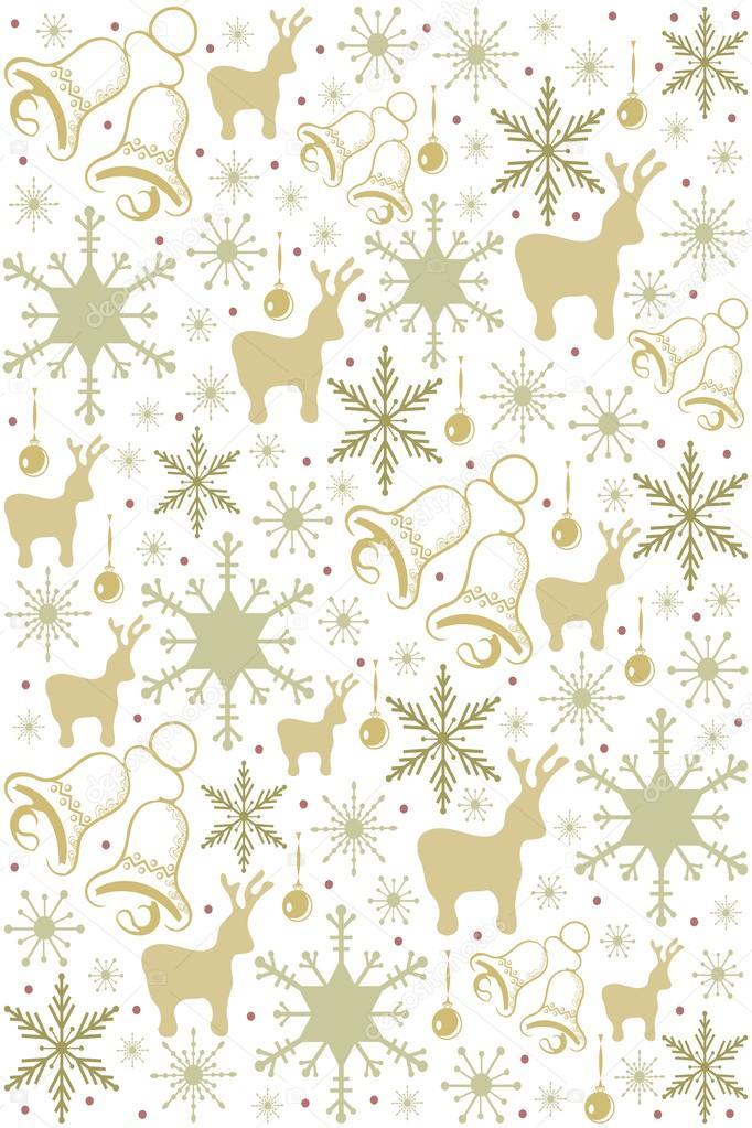 patrón de Navidad con copos de nieve, cascabeles y Reno — Vector de ...