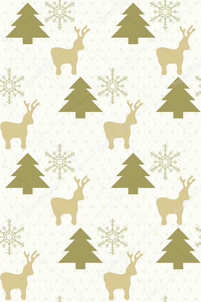 patrón sin fisuras con árboles, renos y copos de nieve — Archivo ...