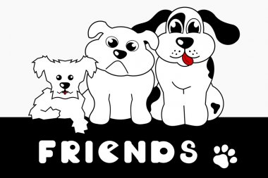 little dogs above friends sign background