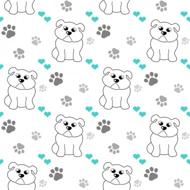 repeating pattern with paw prints, turquoise hearts and bulldog cartoon drawing on white background