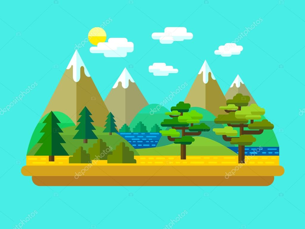 Natural landscapes in a flat style. Vector.