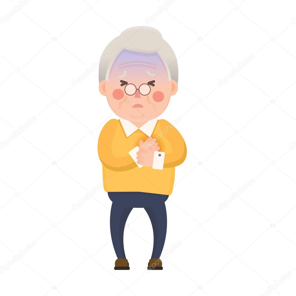 old man chest pain cartoon character � stock vector