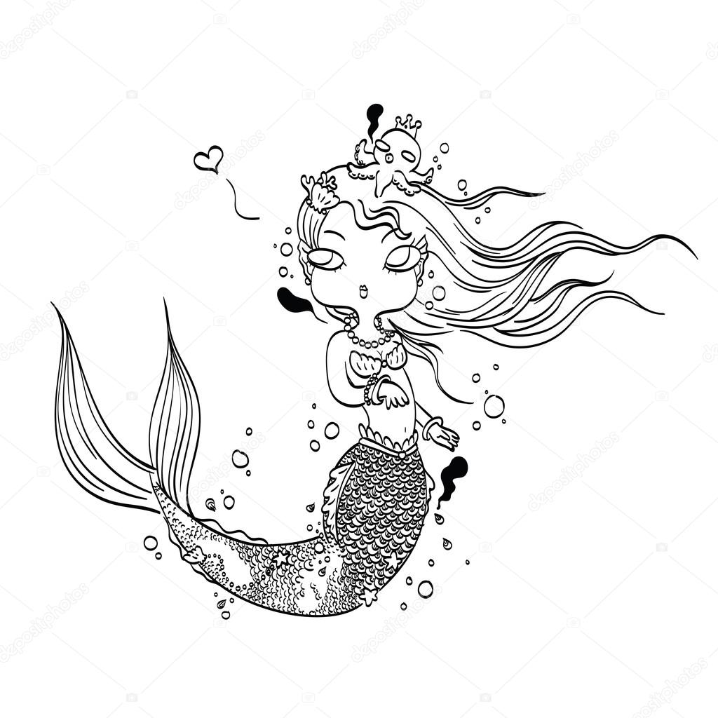 Preciosa sirena para colorear — Vector de stock © naschy #113185278