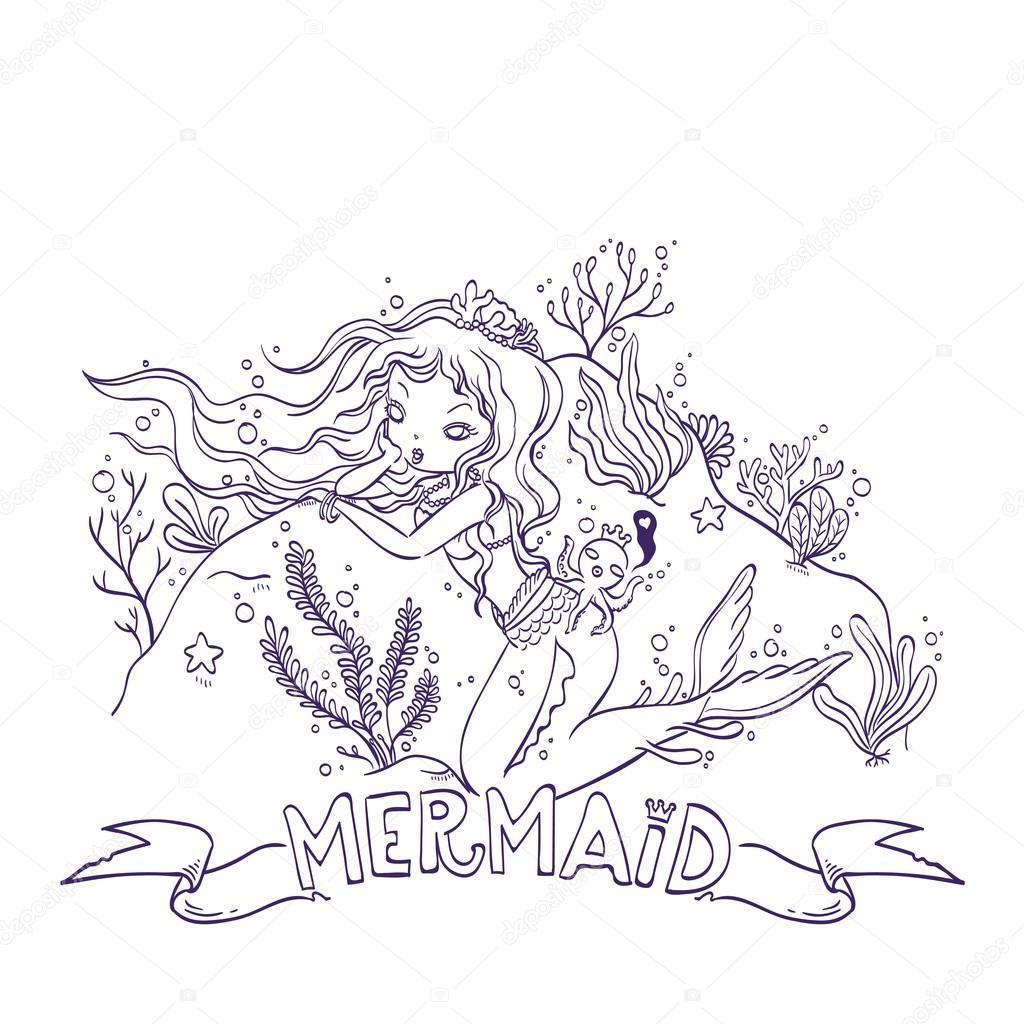 Sirenita Para Colorear Archivo Imágenes Vectoriales