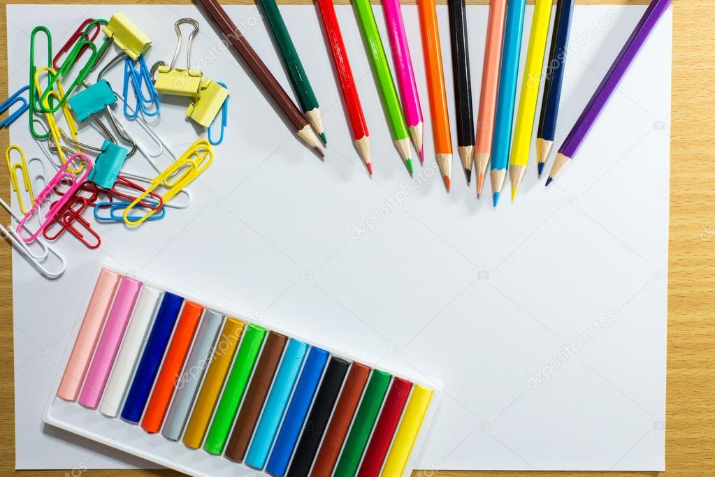 frame of colorful school supplies and equipment education art ...
