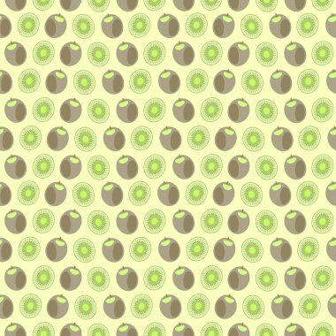 Seamless vector pattern, mat symmetrical background with elements of kiwi, whole and cut, over light yellow background.